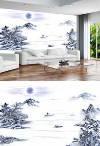 青花瓷中国风山水画电视背景墙
