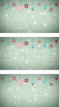 矢量卡通圣诞雪花纷飞高清背景视频