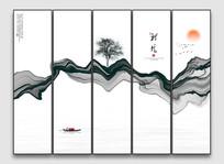 禅意抽象水墨意境山水画