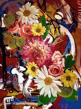 花卉装饰油画