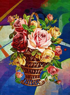 玫瑰花篮油画