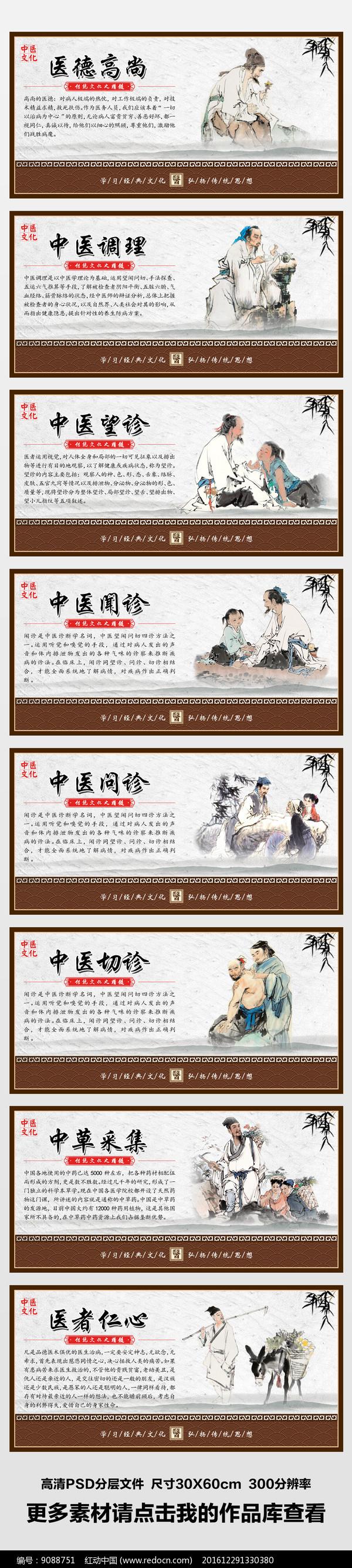 整套大气传统中医文化展板挂画图片