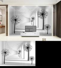 3D立体空间蒲公英电视背景墙