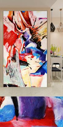 抽象水彩艺术玄关装饰画
