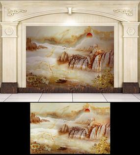 大理石纹金山如画太阳背景墙