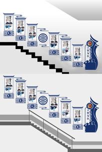 蓝色警营部队标语楼梯文化墙