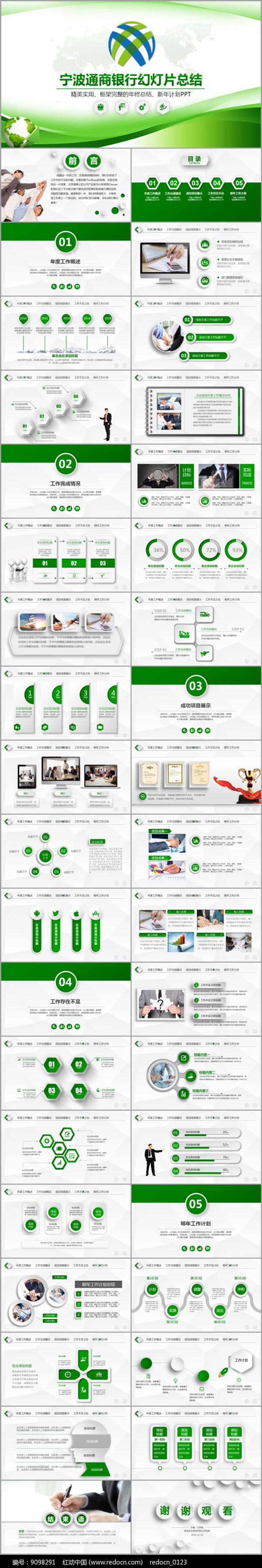 宁波通商银行绿色商务PPT图片