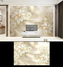 珠宝花3d欧式宫廷金色背景墙