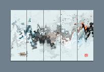 抽象意境水墨山水画背景装饰图