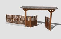 传统木屋大门入口护栏