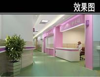 粉色护士站3D效果图