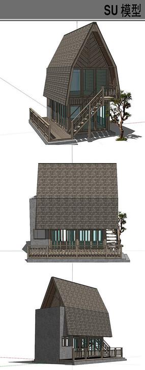 高顶斜坡木屋