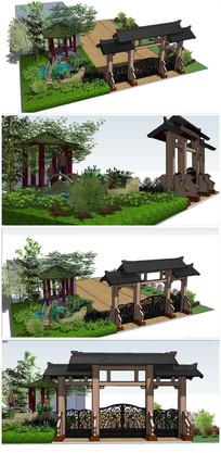 古典中式景观全模SU模型