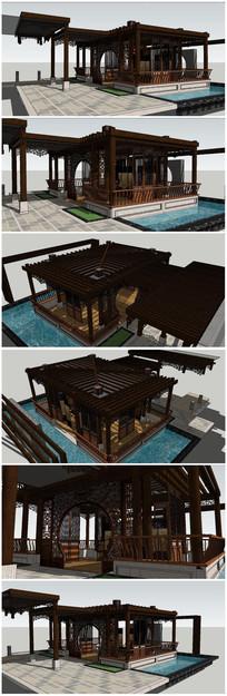 古典中式景观庭院SU模型