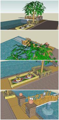 河岸景观SU模型