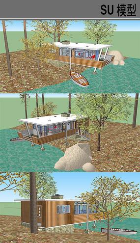 湖边憩息小木屋
