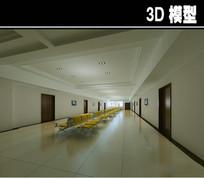 简易医院黄色座椅大厅3D