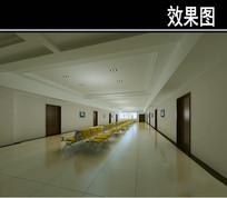 简易医院黄色座椅大厅效果图