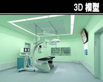 绿色背景手术室3D模型