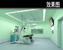 绿色背景手术室3D效果图