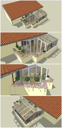 屋顶花园阳光棚SU模型