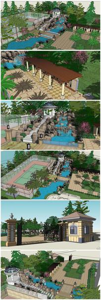 现代风格景观庭院SU模型