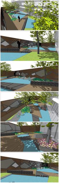 现代建筑景观庭院SU模型