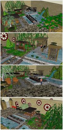 现代景观庭院SU模型
