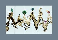 新中式抽象水墨山水室内装饰画