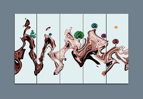 简约抽象水墨山水装饰画 PSD