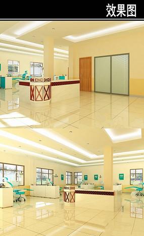 牙科医院大厅3D效果图
