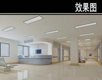 医院白蓝护士站3D效果图