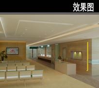 医院大理石护士站3D效果图