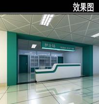 医院护士站3D效果图