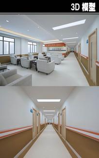 医院棕色走廊工作站3D模型