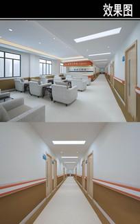 医院棕色走廊工作站3D效果图
