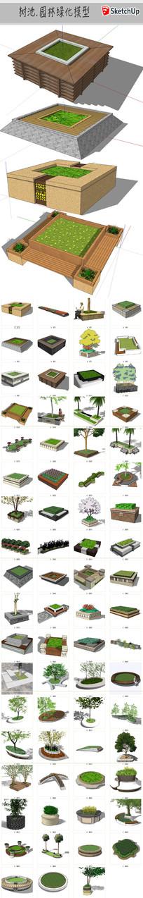 园林绿化树池模型 skp