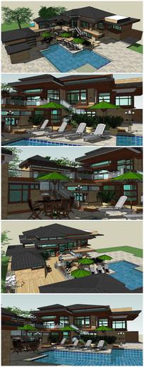 中式度假村景观SU模型