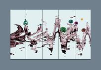 中式意境水墨山水抽象装饰画