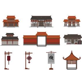 扁平化中国古建筑素材