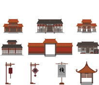 扁平化中国古建筑素材 AI