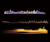 繁华璀璨线描城市背景素材