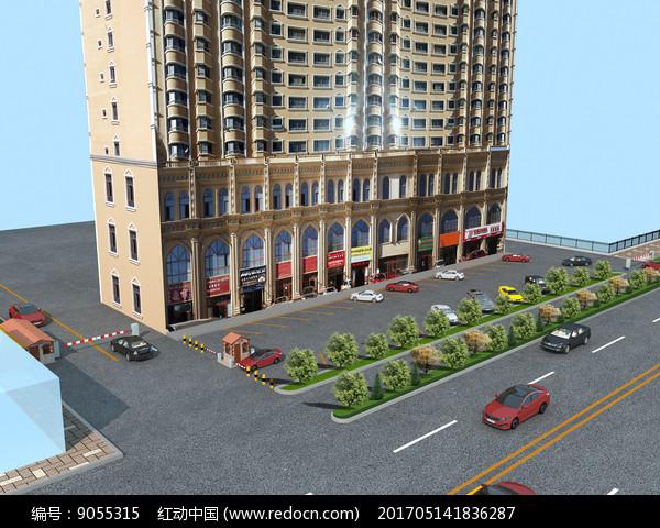 高层建筑以及停车场鸟瞰图图片