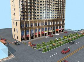 高层建筑以及停车场鸟瞰图