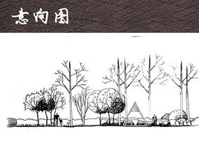 公园景观立面手绘