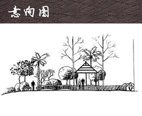 公园景亭景观手绘