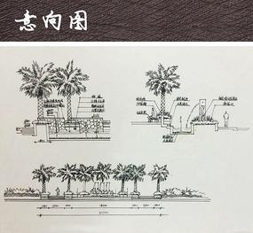 公园水景手绘