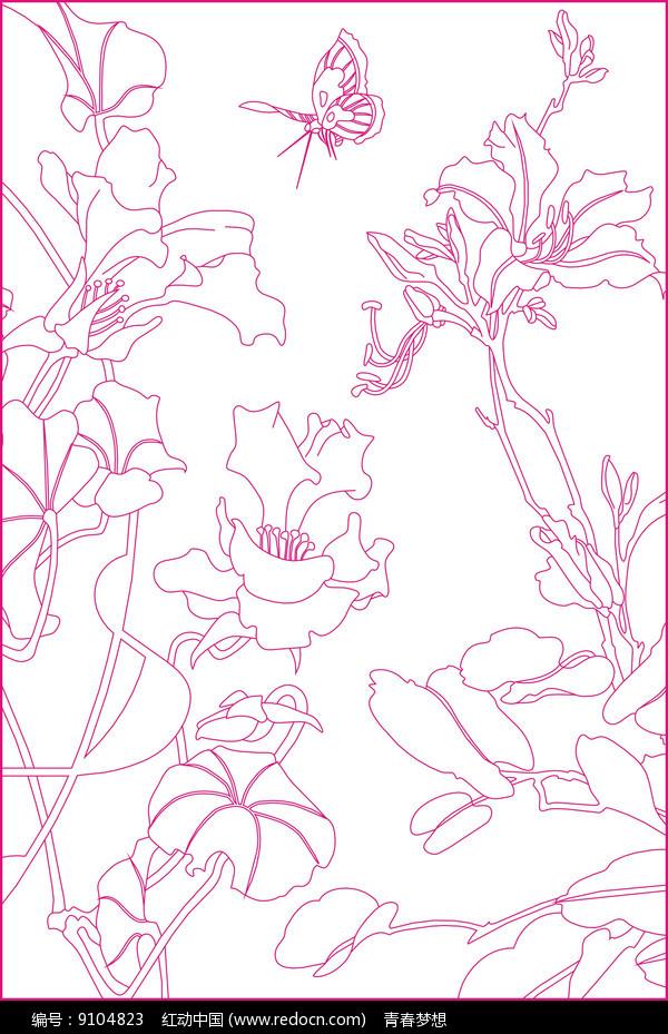 花卉线描雕刻图案图片