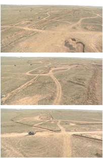 荒漠草原拖拉机开过黄土地视频