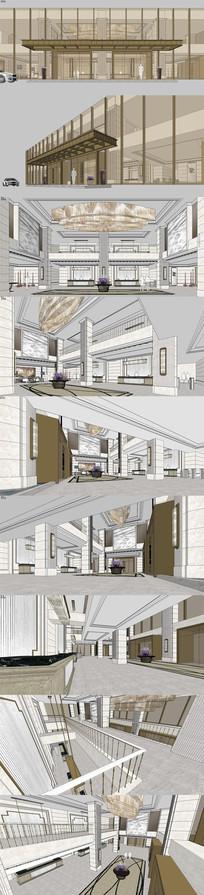酒店大堂室内设计SU模型